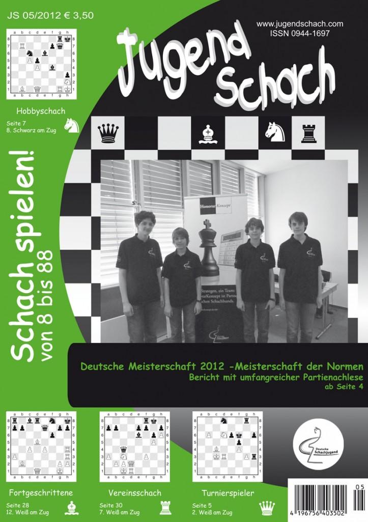 """Titelblatt der JugendSchach Ausgabe 05 2012 mit den """"Prinzen"""" Matthias Blübaum, Rasmus Svane, Dennis Wagner und Alexander Donchenko"""